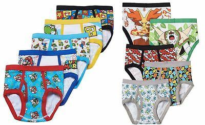Nintendo Super Mario or Pokemon Underwear Briefs Boys kids 5 pk pair size 4 6 8