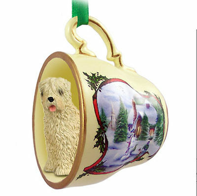 Soft Coated Wheaten Dog Christmas Holiday Teacup Ornament Figurine