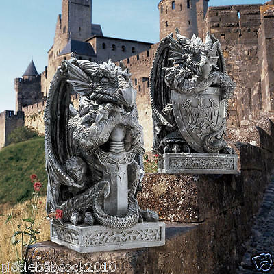 SET OF 2 GOTHIC-Castle Dragon Shield & Sword Medieval COLLECTIBLE SCULPTURE