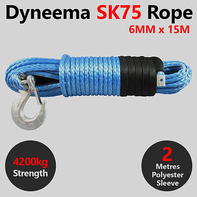6MM X 15M Dyneema SK75 Winch Rope Hook - ATV Quad Boat Synthetic Recovery Cable