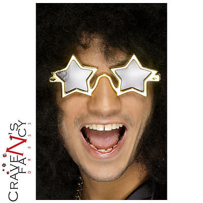 Gold Star Shaped Specs Superstar Glasses Fancy Dress Party Shades Stag Hen Do