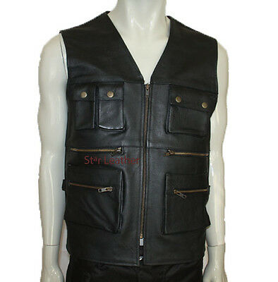 Mens Real Leather Biker Motorcycle Multi pocket Fishing Hunting Waistcoat/Vest
