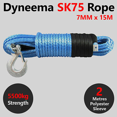7MM X 15M Dyneema SK75 Winch Rope Hook - ATV Quad Boat Synthetic Recovery Cable