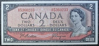 BANK OF CANADA 1954 - $2 BANK NOTE - Prefix A/R - Signed Beattie & Coyne