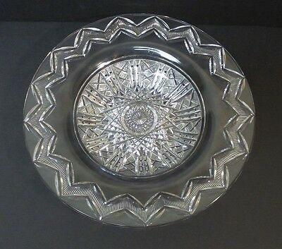 "UNUSUAL AMERICAN BRILLIANT PERIOD (ABP) CUT GLASS 10"" TRAY / BOWL, signed LIBBEY"