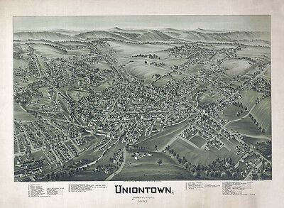 1897 Aerial Panoramic Map of Uniontown Fayette County PA
