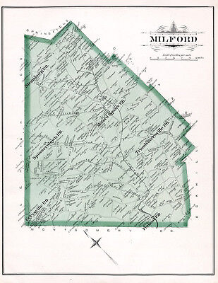 1891 Map of Milford Township Bucks County Pennsylvania