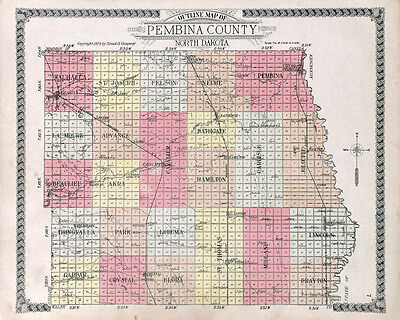 1928 Map of Pembina County North Dakota