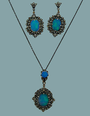 Georgian 1870s OPAL DIAMOND SILVER GOLD OVERLAY NECKLACE and EARRINGS SET