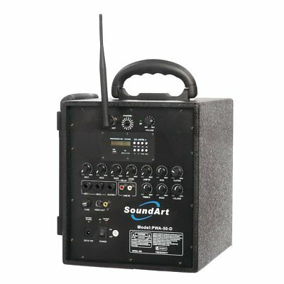 New SoundArt 40 Watt Rechargeable Wireless PA System with MP3 Player