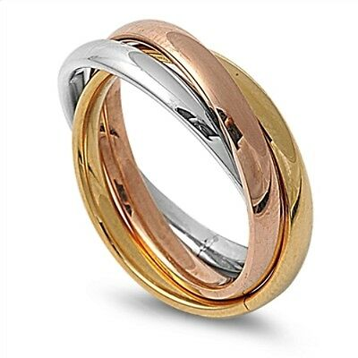 Silver Yellow & Rose Gold Russian Wedding Ring Stainless Steel Band Size 9 R