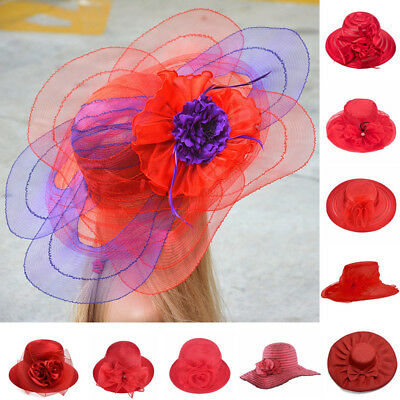 Red Womens Dress Church Wedding Kentucky Derby Wide Brim Summer Beach Hat