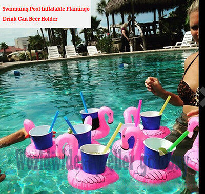 10XFlamingo Swimming Pool Inflatable Drink Can Beer Holder Summer Party Toy Boat