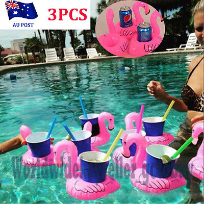 3X Inflatable Flamingo Drink Holder Floating Can Cup Holders Pool Bath Favour B0