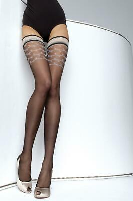 3aa0fa338 Fiore Diava Patterned Top Hold Up Stockings 3 Size Fine European Hosiery  Black