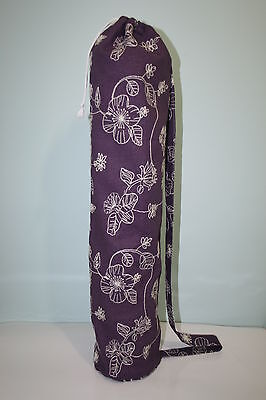 Purple Cotton Yoga/Pilates/Exercise Mat Bag Fits Mat Up to 6mm Thick