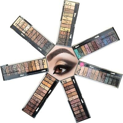 Technic 12 Shades Eye Shadow Palette Mega Nude Matte Smokey Sultry Eyes Makeup