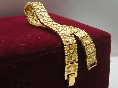 Men's Jewellery 14ct 9ct Yellow gold GF 10mm Cross Watch Band bracelet 20cm