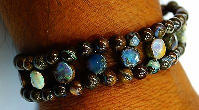 "120Ct. 7.5"" Top Quality Boulder Opal Smooth Roundelle & Coins Bracelet With Lock"