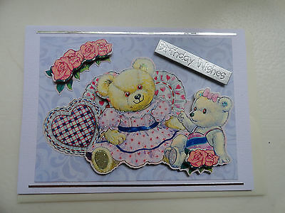 Sending birthday wishes handmade greeting card emc024 325 handmade birthday wishes bears adorable roses greeting card m4hsunfo