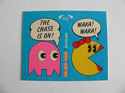 1981 Ms. PAC-MAN THE CHASE IS ON #6 of 54 STICKER RUB OFF CARD WAX PACK FLEER