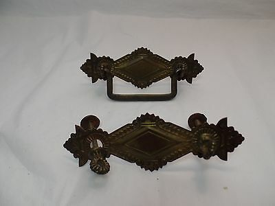 2 Antique Stamped Eastlake Drawer Pulls