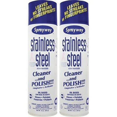 Sprayway Stainless Steel Cleaner, 15 oz, 2 ct