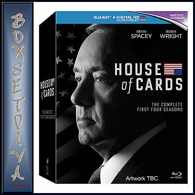 House Of Cards - Complete Seasons 1 2 3 & 4  **Brand New Bluray Boxset**