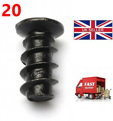 Pack of 20 Black Computer PC Case Fan Mounting Screws - 10mm Length