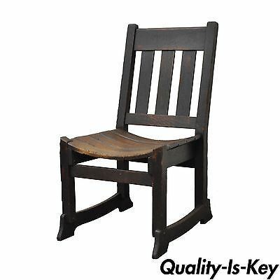Antique Mission Arts & Crafts Oak Bent Seat Chair Gustav Stickley Limbert Style