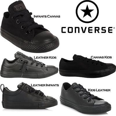 Kids Childrens Infants Babies Back to School Black Converse Boys Trainers Shoes