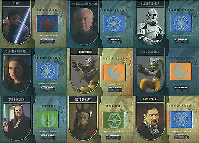 Star Wars Evolution - Flag Patch Chase Card LOT of 9 - Topps 2016 - NM