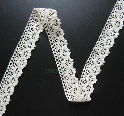5 yards Vintage Ivory Cream Cotton Crochet Lace Trim Wedding Ribbon Sewing Craft