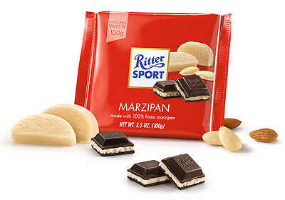 2 Packs Ritter Sport Dark Chocolate with Finest Marzipan Filling 2x100g