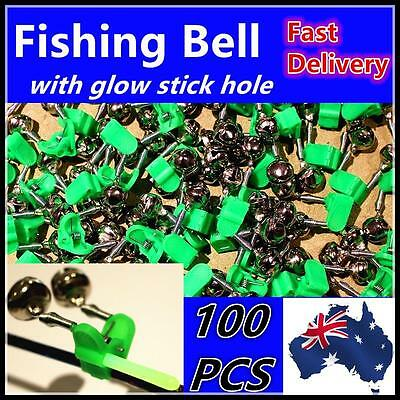 100 x Fishing Bells Rod Clip with Glow Stick Hole Holder Alarm Tackle Oz stock