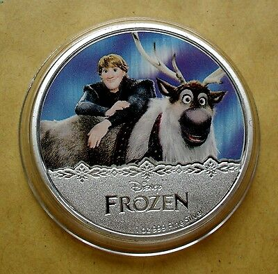 New Zealand 2016 Silver Plate Disney Frozen Kristoff Coin In Capsule