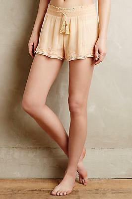 New Anthropologie Eloise Apricot Mesh Shorts Lace Sleep Pajamas Embroidered $68