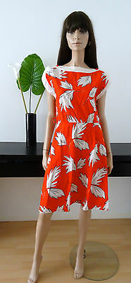Robe vintage rouge/feuillage blanc taille 38/40 - vtg dress abito vestido