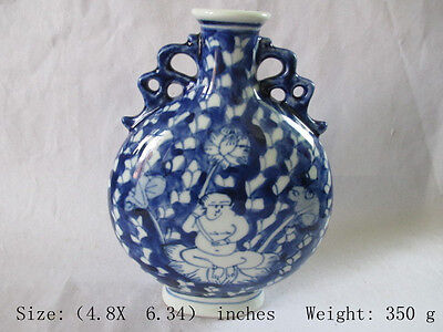 The ancient Chinese blue and white porcelain vase. Laughing Buddha. Lotus NR