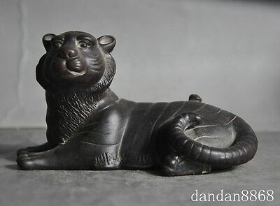 old china Chinese fengshui yixing zisha pottrey carved animal tiger lucky statue