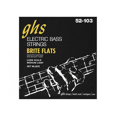 GHS ML3075 Brite Flats Flatwound Electric Bass Strings. Shipping is Free