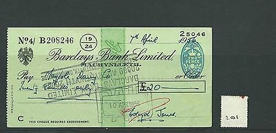wbc. - CHEQUE - CH201 - USED -1956 - BARCLAYS BANK, MACHYNLLETH