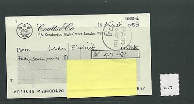 wbc. - CHEQUE - CH217 - USED -1983 - COUTTS & CO. KENSINGTON, LONDON W8