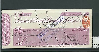 wbc. - CHEQUE - CH225 - USED -1890's - LONDON & COUNTY BANKING, SANDWICH