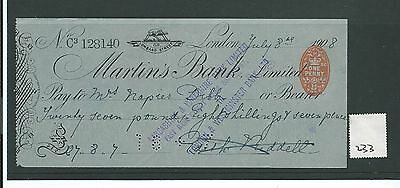 wbc. - CHEQUE - CH233 - USED -1900's - MARTINS BANK, LONDON