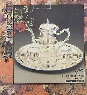 "Davco Silver Set Mini Coffee Set with 10"" Round Tray Item #2438"