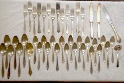 Mixed Lot Silverplate Flatware 43 Assorted Pieces,