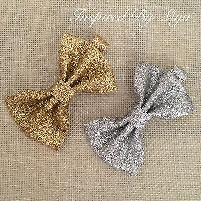 2x Baby Toddler Girls Bow Hair Clip Gold Silver Glitter Bow Sparkly Accessories