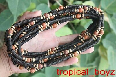 10 two-toned BLACK Coconut Shell Wood Wooden Stretchy Necklaces Wholesale Lot