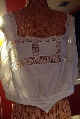 Antique Camisole Linen Hand-tatted Lace (by My Oma!); White, Large 100 Years Old